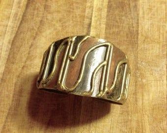 SUMMER SALE Jewelry. Vintage. Artisan Metal Cuff Bracelet