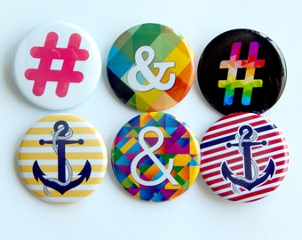 """Anchor Hashtag 1.5"""" Nautical Chevron Striped Anchor Accessories, Cruise Door Magnets, Ampersand Lanyard Pins, Cute Backpack Buttons Patch"""