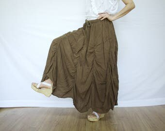 PLUS SIZE SKIRT...Bring Me To The Moon - Steampunk Maxi Flare Dark Brown Cotton Skirt With Ruching Detail Around Bottom Hem