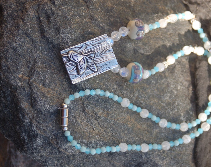 """Featured listing image: Butterfly Moonstone and Amazonite Necklace, Butterfly Necklace,""""Butterfly Effect"""""""