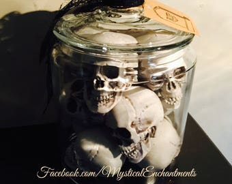 LARGE glass Jar of Garden GNOME Skulls