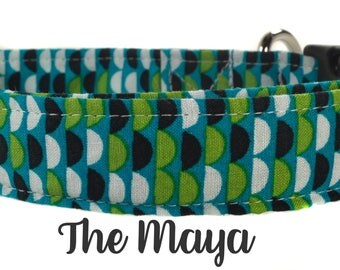 Navy and Green Patterned Dog Collar - The Maya