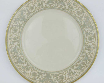 "Gorham ""Lorenzo De Medici"" Green & Gold Dinner Plate 10-3/4"" Excellent Condition"