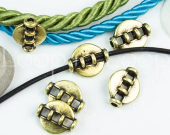 Antique bronze Disc Bead Spacer Open oval tube Slider bead for 2mm Round leather Cord bohemian brass European quality Metal Beads P14  2pcs