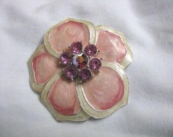 Pretty peachy pink enamel flower pin brooch with pink rhinestones