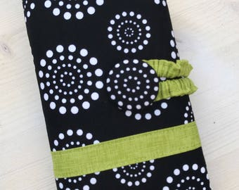 Black Dots & Chartreuse Green Crochet Hook Organizer - Embroidered Numbered Pockets A through N - Ready to Ship