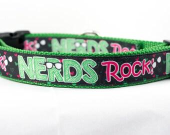 "Nerds Rock Dog Collar - 1"" inch wide - buckle or martingale collar - nerdy dog collar - geeky dog collar - boy dog collar - nerd dog collar"