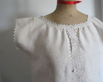 Hand embroidered antique French pure linen chemise, dress, nightie, excellent condition, festival, boho chic