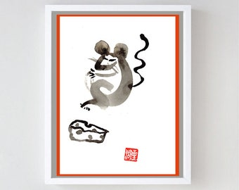 Mouse or Rat, Chinese Year of the Rat, Zen Sumi Ink Painting, japan tea ceremony, zen decor, japan style, childs room art, nursery baby art