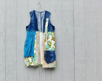 Vest or Jacket, Wearable Art, Upcycled Clothing, Art Smock, Fall Fashion, Boho, Bohemian, Overcoat, Tunic, Gypsy, Remix Clothing, Reclaimed