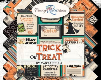 "SALE Trick or Treat Charm Pack - Halloween Charm Pack - Halloween Fabric - 5"" Inch Precut Fabric Squares - Penny Rose Fabrics"