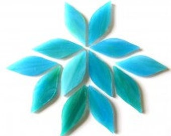 XL Caribbean Blue and Green TIFFANY Stained Glass Petal Shaped Mosaic Tiles//Mosaic Supplies//Mosaic Pieces//Crafts