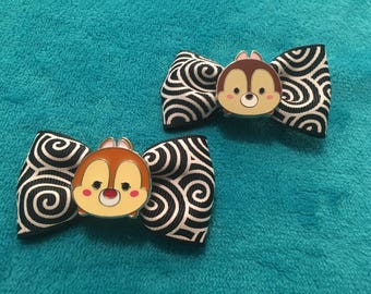 Chip and Dale hairbow clip set