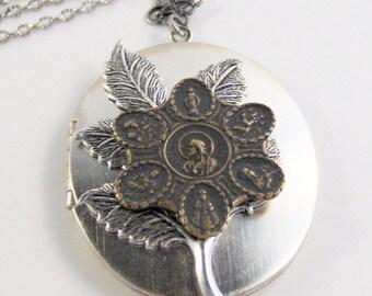 SALE All Saints Locket,Saint Necklace,Saint Locket,Brass Jewelry,Saint JewelryReligious Necklace,Saint Necklace,Saints Medal,Valleygirldesig