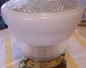 Vintage Semi Flush Ceiling Fixture, Complete, Brass Cap, Pressed Glass Shade,