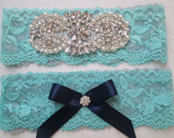 Teal Blue, Gray & Navy Blue Wedding Garter Set, Aqua and Silver Lace Bridal Garter, Rhinestone Rustic Garters, Something Blue, Country Bride