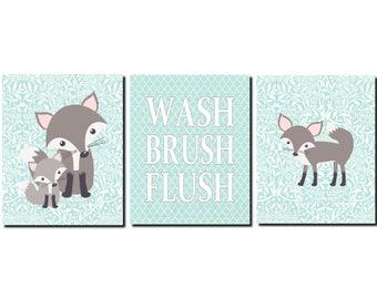 Fox Bathroom, Fox Bathroom Wall Art, Kids Bathroom Art, Woodland Bathroom Art, Wash, Brush, Flush, Gray Fox, Set of 3, Prints or Canvas