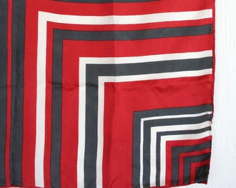 Op Art silk scarf in brick red, asphalt gray and white. Linear scarf, retro scarf, mod scarf, Designer Scarf brand, Japan, graphic pattern