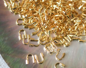 50pcs  Gold Wire Guardians 5mm, Gold Plated Brass Thread Protectors  (GB-092)