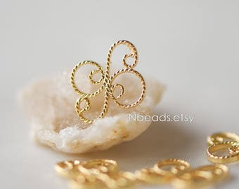 20pcs Gold Filigree Charms 13mm, 24K Gold plated Brass Flower Connectors with Multi Loops (GB-114)