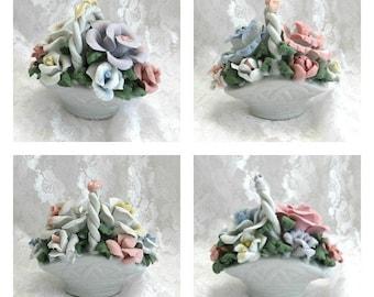 Porcelain Rose Basket Ceramic Flower Basket Floral Basket Ceramic Basket White Basket Porcelain Basket Small Porcelain Flower Miniature