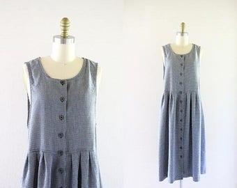 ON SALE black gingham market dress / m