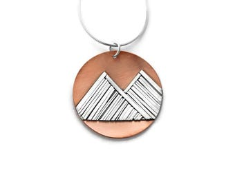 Mountain Pendant in Sterling Silver and Copper, Mountain Jewelry, Mountain Pendant, Mountain Range, Nature Jewelry, Gift for Her, Handmade