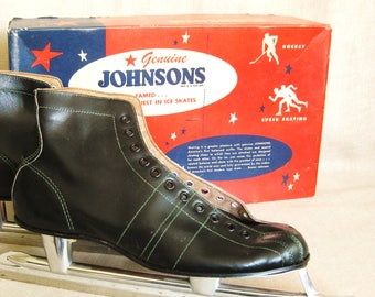 Vintage Mid-Century Johnson Speed Skates, New Old Stock, Unused, Original Box, Ice Skating, Mens Size 9, Sporting Goods, Sports Equipment