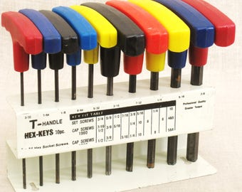 Vintage Hex Key Set, Holder, Storage Rack, Tools, Collection, Mid-Century, Workshop, Auto Shop, Screw Driver,Studio,Color Coded,Organization