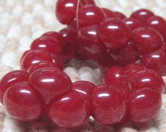 Czech Glass Beads 9 X 8mm Smooth Shiny Pomegranate Red Buttons - 30 Pieces