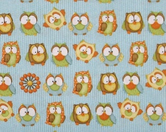 ON SALE Owls on Blue Stripe 100% Cotton Quilt Fabric for Sale, Hoot Hoot Hooray! Collection by Shelly Comiskey for Henry Glass HEG6503-11