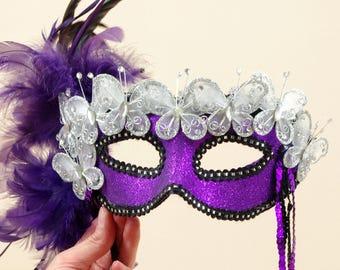 Purple and Silver Mask, Feather Mask, Masquerade Mask, Costume Mask, Mardi Gras Mask, Halloween Mask, Purple Mask, Party Mask