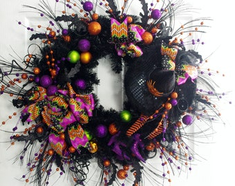 Halloween Wreath, Halloween Decor, Witch Wreath, Black and Purple Wreath, Wicked Witch Wreath, Halloween Door Decor, Black Wreath