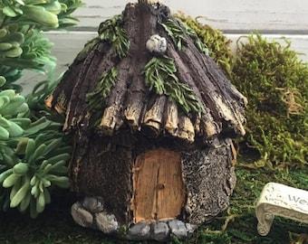 4th Sale Fairy Garden House Rustic Stone Wood Look Fairy Garden Accessory Home