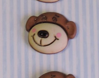 "SALE Monkey Buttons, ""Max The Monkey"" Carded Novelty Buttons by Buttons Galore, Shank Back, Set of 3"