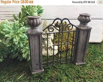 SALE Mini Garden Gate with Pillars,  Fairy Garden Accessory, Miniature Garden Decor, Home & Garden, Topper, Shelf Sitter