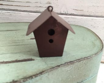 SALE Mini Birdhouse, Rustic Tin Metal Birdhouse, Mini House with Hanging Loop, Miniature Garden Decor, Accessory, Crafts, Topper