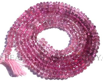 For Jewelry Making, Pink Tourmaline Faceted Rondelle (Quality AA+) / 3.50 to 4.50 mm / 36 cm / TOUR-032