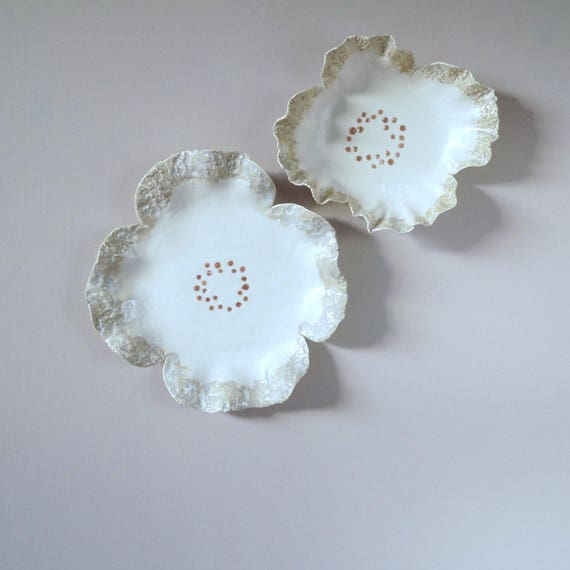 FRILLY flowers ceramic wall art, two sculpted porcelain flowers, fine art ceramic flowers, white porcelain natural glaze