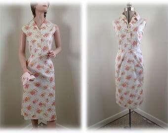 Vintage 1950's Seersucker Cotton Sundress Pink & White Floral Summer Sleeveless Frock w/Rhinestone Buttons - M