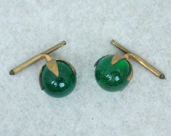 Vintage Art Deco Emerald Green Art Glass Cuff Links - Retro 1930's Mens' Accessories/Jewelry