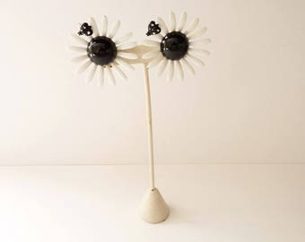 NEW  Vintage Listner Black and White Daisy Earrings with Polka Dot Bug - 2 Inch Button Flower Earrings