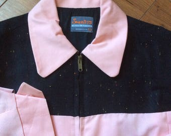 Pink & Black Rockabilly Gabardine Jacket Elvis Atomic Fleck 50s Style
