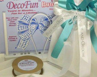 DecoFun Bowmaker BRIDAL DELUXE Aqua (Wedding Blue) and White Kit - DIY Bow Maker easy & quick beautiful ribbon bows in minutes.