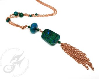 Long Tassel Necklace ~ Chrysocholla Gemstone Beads on Copper Chain ~ Green and Blue ~ Claspless, Over The Head Style ~ #N0692 Fantasticality