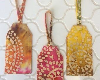 Batik luggage tag, yellows, browns, pink, travel, ID tag, computer bag