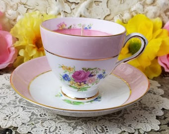Vintage Teacup Candle, Mothers Day Candle, Spring Candle, Teacup Candle, Teacup