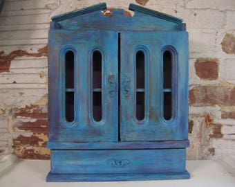 Hand painted distressed boho chic cabinet curio spice cabinet hanging storage