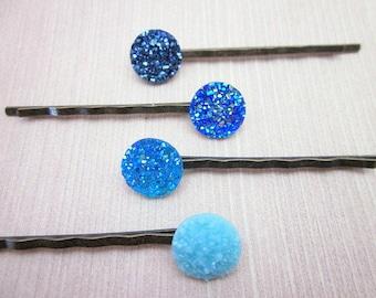 Blue Hair Jewelry -- Set of Blue Pins -- Blue Hair Pin Set -- Resin Bobby Pin -- Blue Glitter Hair Pins -- Blue Druzy Pin -- Faux Druzy Pins