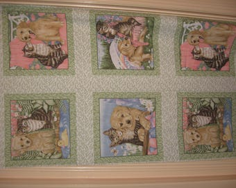 Fabric panel - Puppies and Kittens